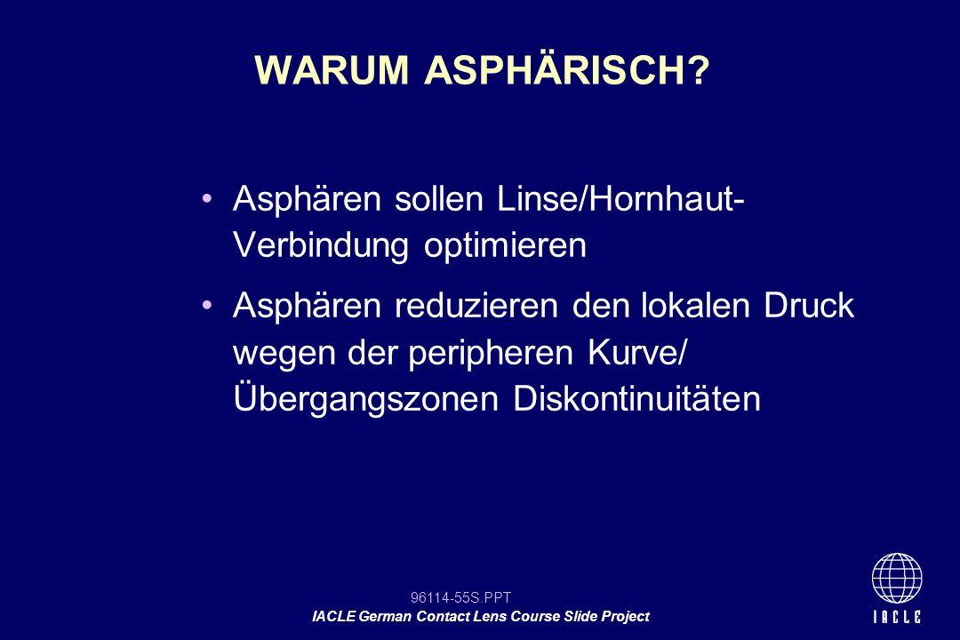 WARUM ASPHÄRISCH Asphären sollen Linse/Hornhaut- Verbindung optimieren.