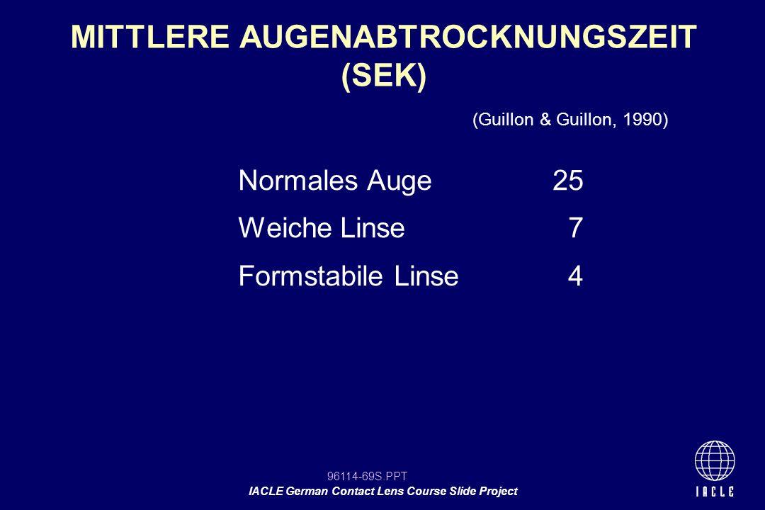 MITTLERE AUGENABTROCKNUNGSZEIT (SEK)