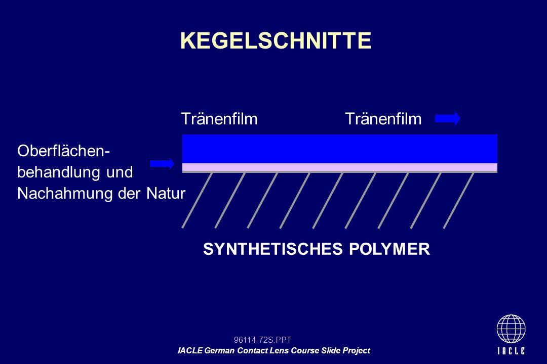 KEGELSCHNITTE Tränenfilm Tränenfilm SYNTHETISCHES POLYMER Oberflächen-