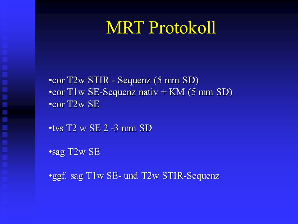 MRT Protokoll cor T2w STIR - Sequenz (5 mm SD)