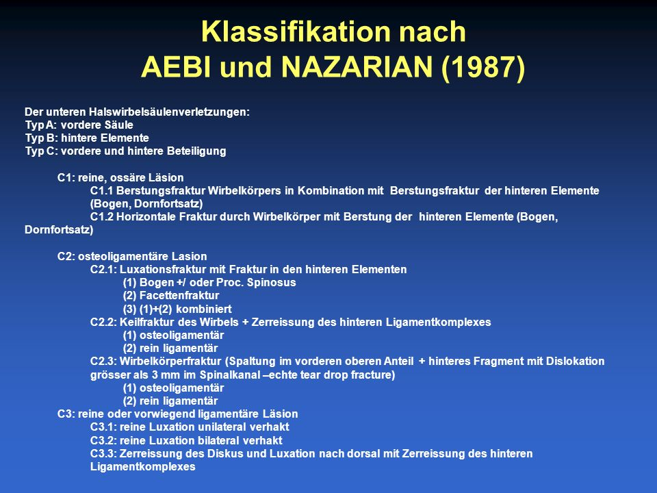 Klassifikation nach AEBI und NAZARIAN (1987)