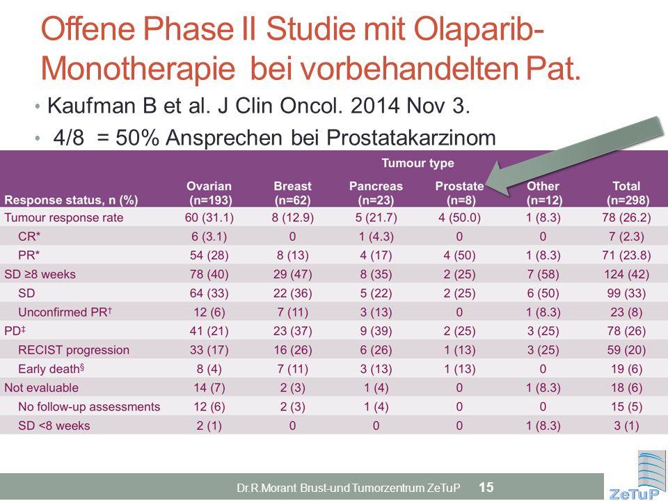 Offene Phase II Studie mit Olaparib- Monotherapie bei vorbehandelten Pat.
