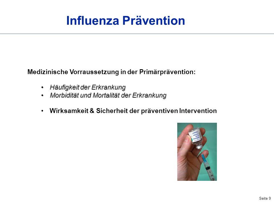 Influenza Prävention Medizinische Vorraussetzung in der Primärprävention: Häufigkeit der Erkrankung.