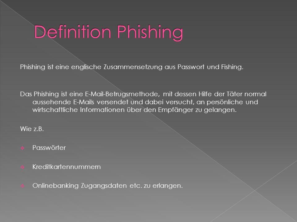 Definition Phishing Phishing ist eine englische Zusammensetzung aus Passwort und Fishing.