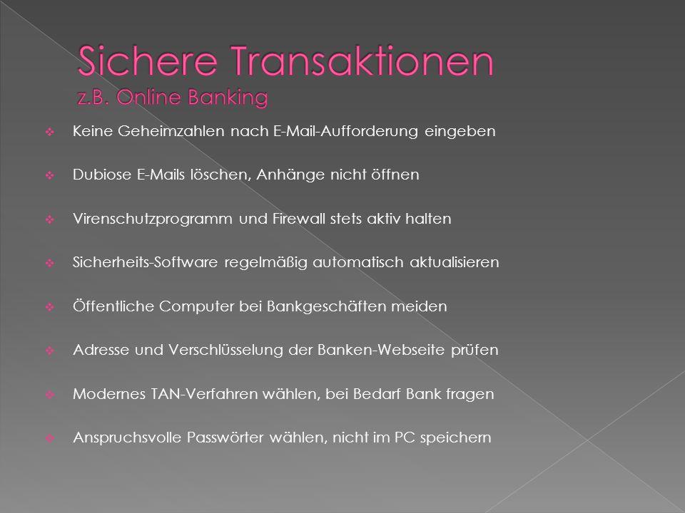 Sichere Transaktionen z.B. Online Banking