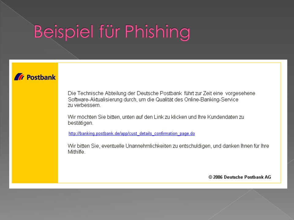 Beispiel für Phishing