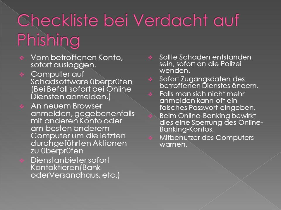 Checkliste bei Verdacht auf Phishing