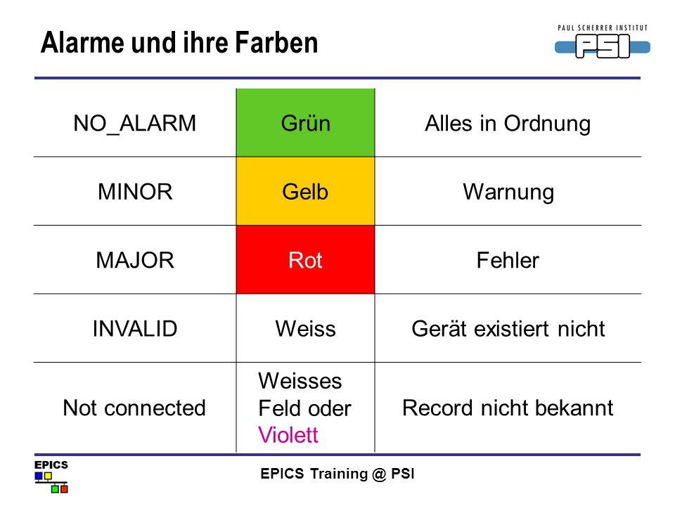 Alarme und ihre Farben NO_ALARM Grün Alles in Ordnung MINOR Gelb