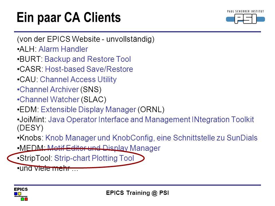 Ein paar CA Clients (von der EPICS Website - unvollständig)