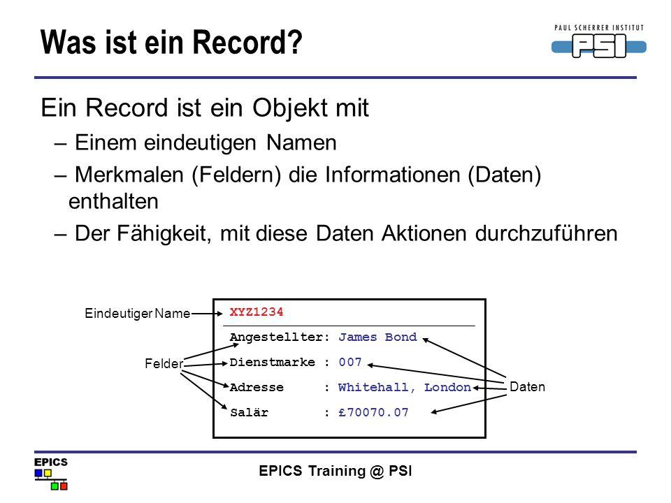 Was ist ein Record Ein Record ist ein Objekt mit
