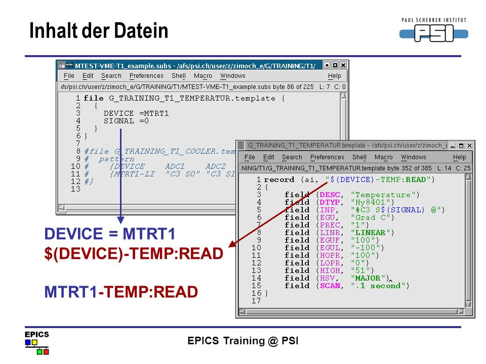 Inhalt der Datein DEVICE = MTRT1 $(DEVICE)-TEMP:READ MTRT1-TEMP:READ
