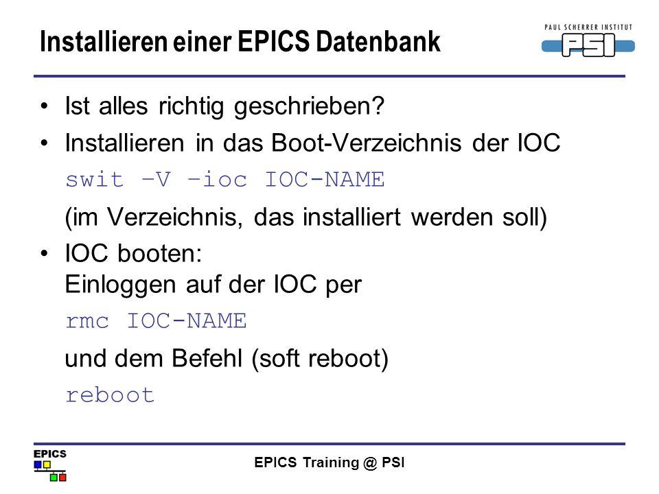 Installieren einer EPICS Datenbank