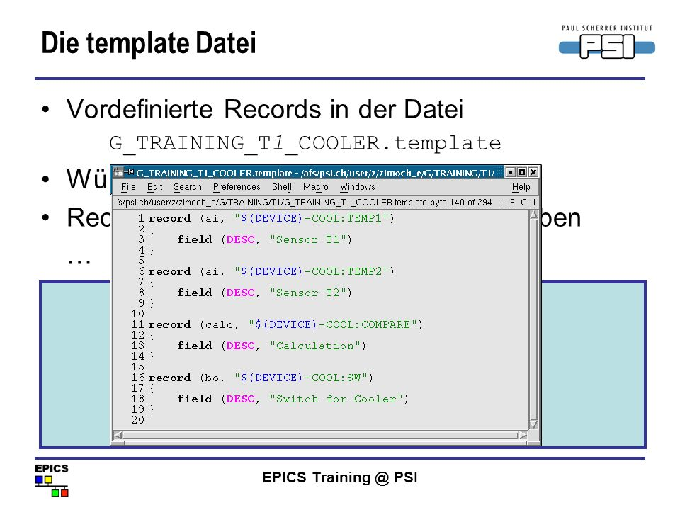 Die template Datei bereits vorhandenes Temperatur-Record kopieren!