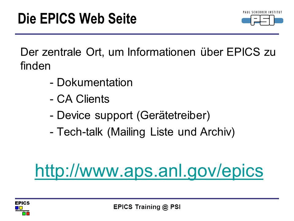 http://www.aps.anl.gov/epics Die EPICS Web Seite