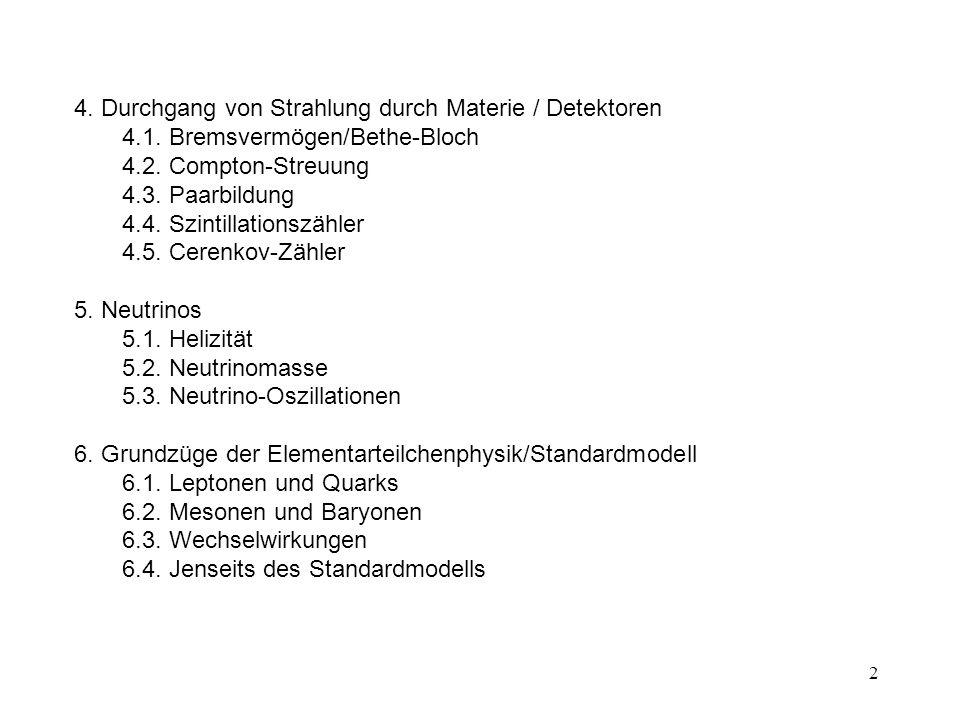 4. Durchgang von Strahlung durch Materie / Detektoren