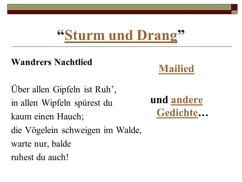 Sturm und Drang Mailied und andere Gedichte… Wandrers Nachtlied