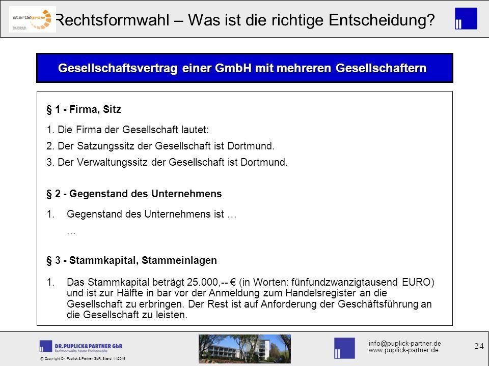 Gesellschaftsvertrag einer GmbH mit mehreren Gesellschaftern