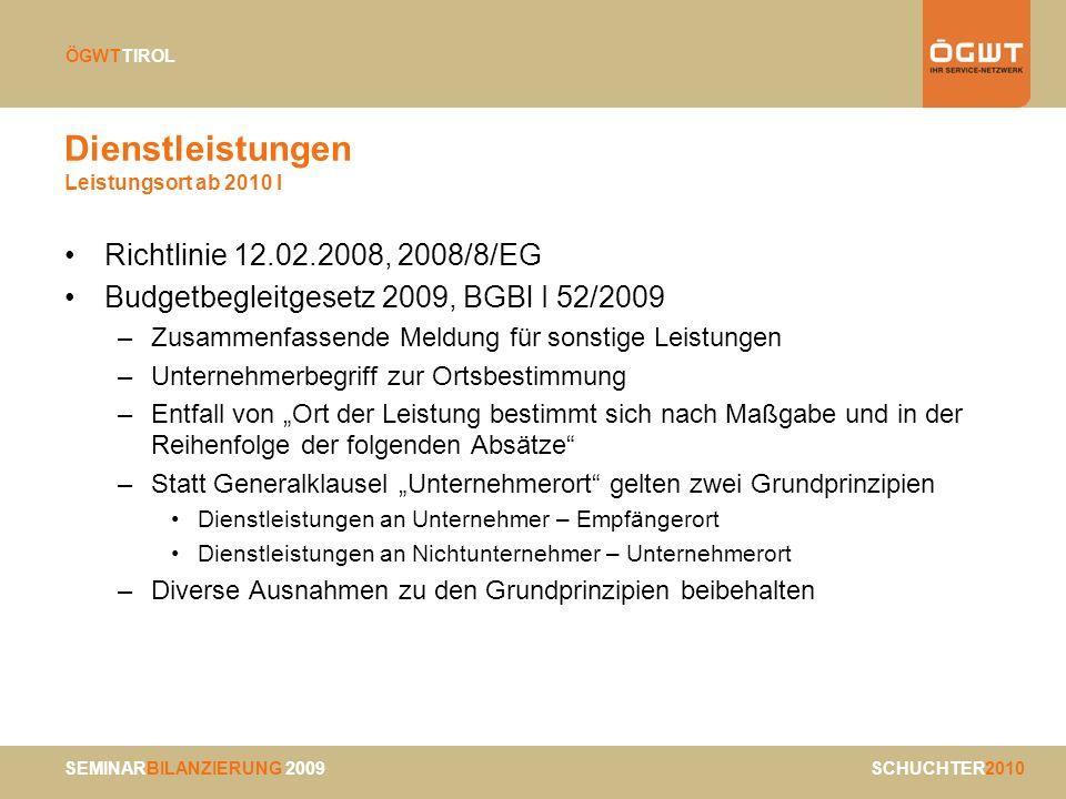 Dienstleistungen Leistungsort ab 2010 I