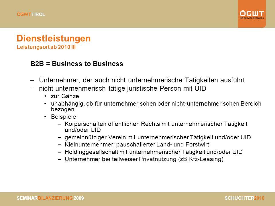 Dienstleistungen Leistungsort ab 2010 III