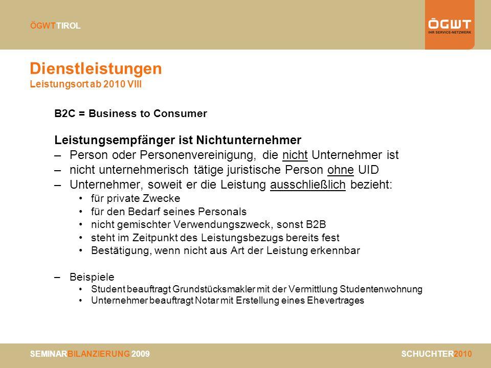 Dienstleistungen Leistungsort ab 2010 VIII