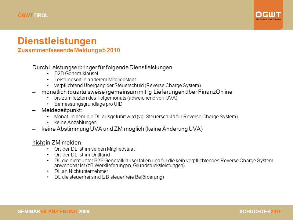 Dienstleistungen Zusammenfassende Meldung ab 2010
