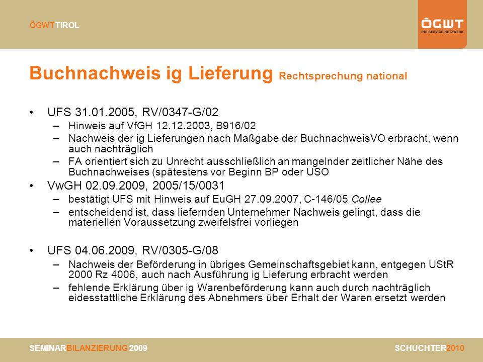 Buchnachweis ig Lieferung Rechtsprechung national
