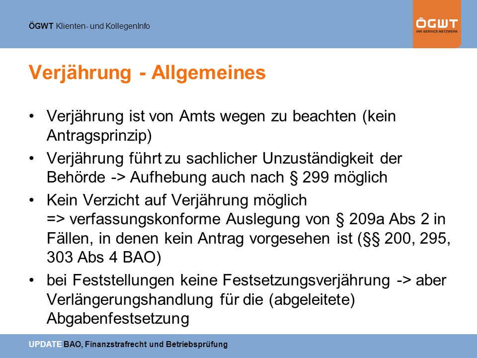 Verjährung - Allgemeines