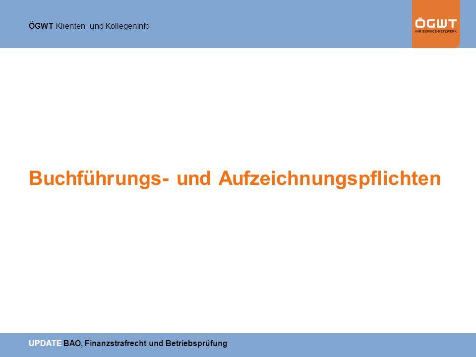 Buchführungs- und Aufzeichnungspflichten