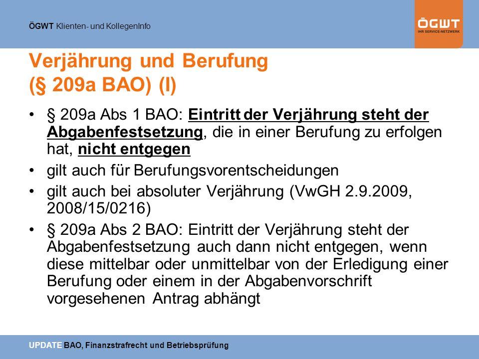 Verjährung und Berufung (§ 209a BAO) (I)