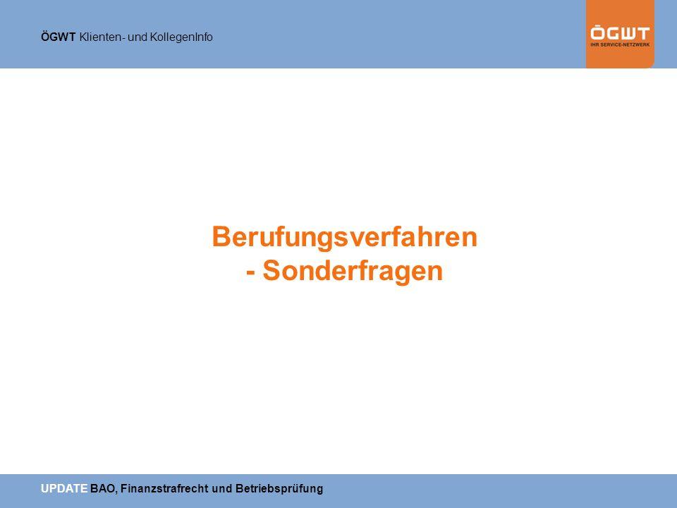 Berufungsverfahren - Sonderfragen