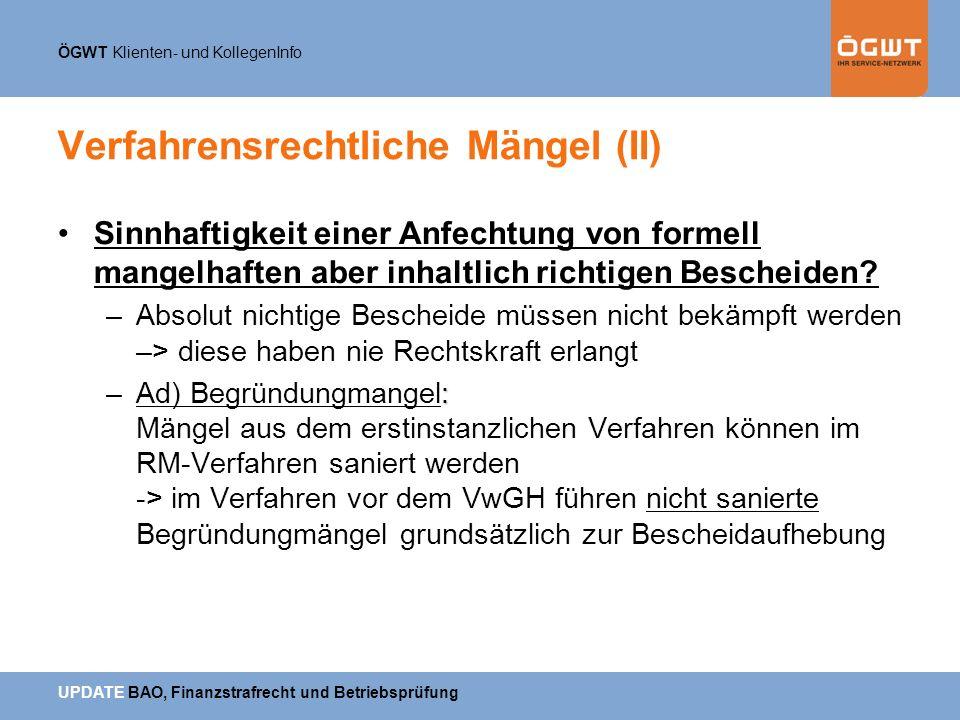 Verfahrensrechtliche Mängel (II)