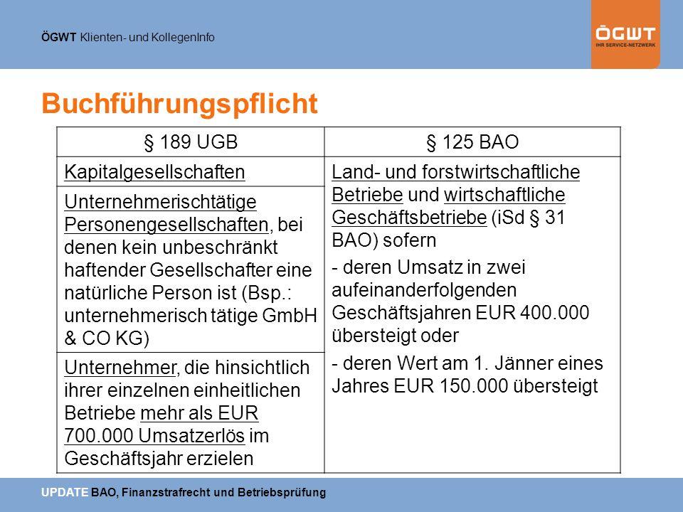 Buchführungspflicht § 189 UGB § 125 BAO Kapitalgesellschaften
