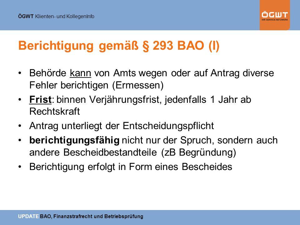 Berichtigung gemäß § 293 BAO (I)