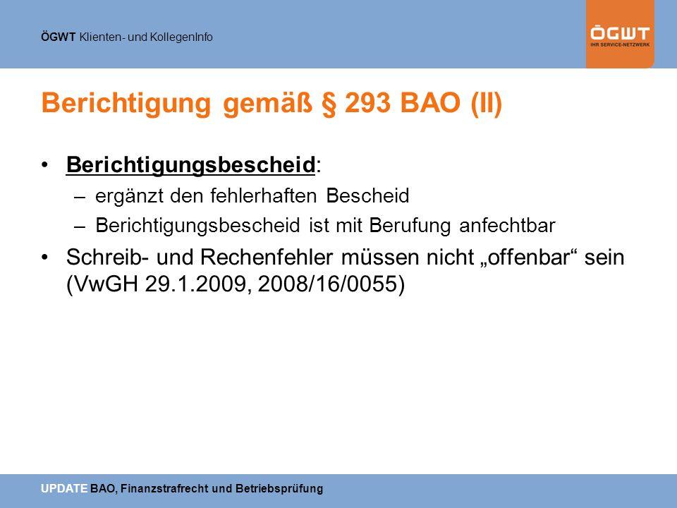 Berichtigung gemäß § 293 BAO (II)