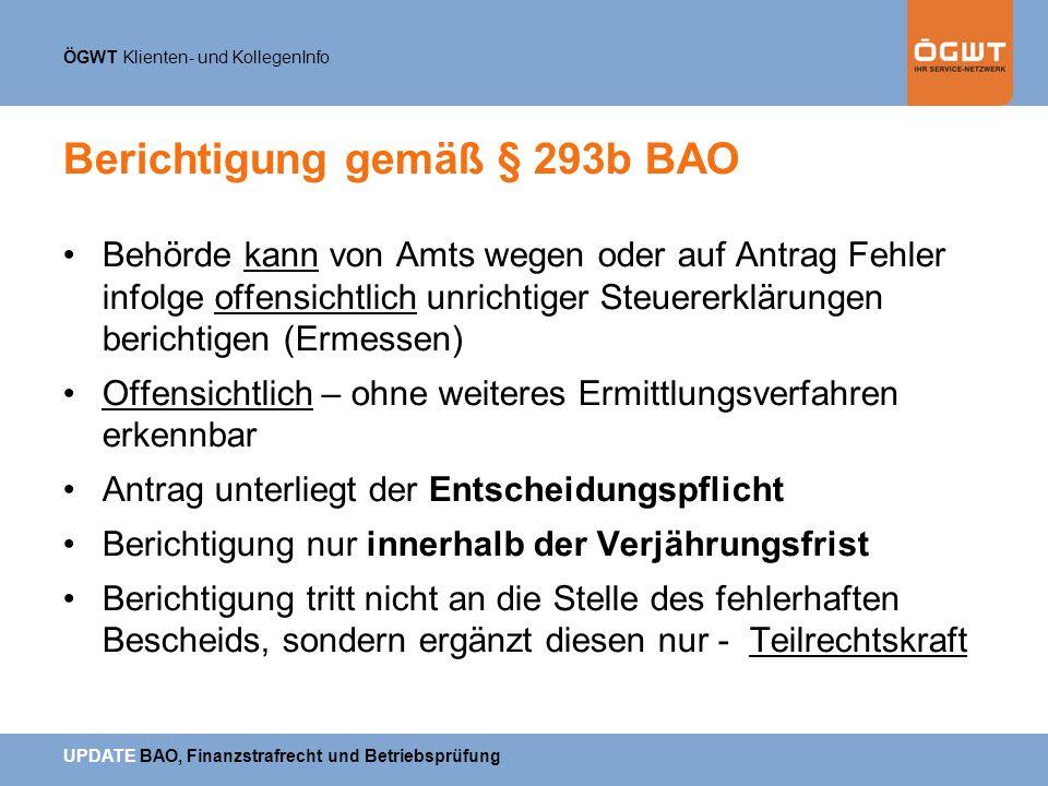 Berichtigung gemäß § 293b BAO