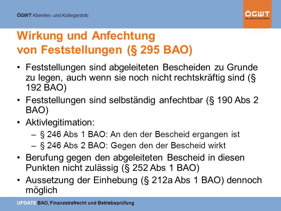 Wirkung und Anfechtung von Feststellungen (§ 295 BAO)