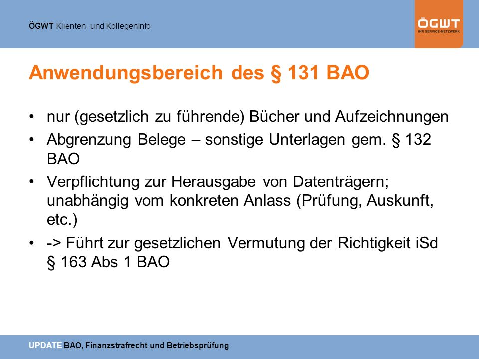 Anwendungsbereich des § 131 BAO