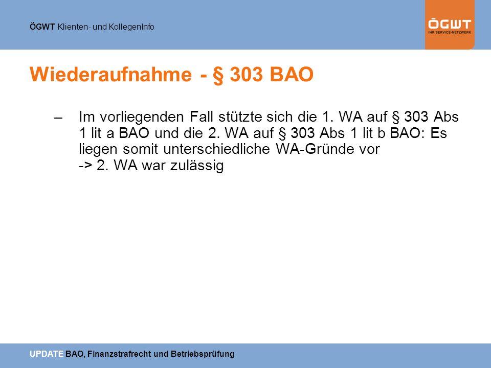 Wiederaufnahme - § 303 BAO