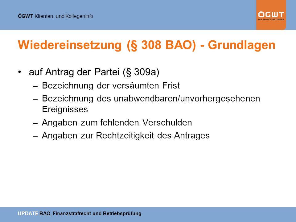 Wiedereinsetzung (§ 308 BAO) - Grundlagen