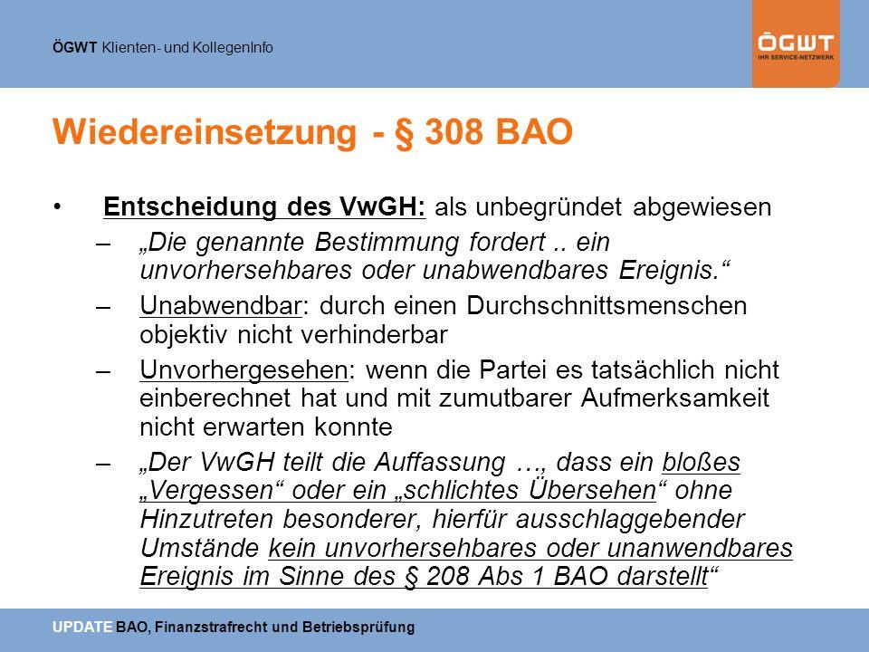 Wiedereinsetzung - § 308 BAO