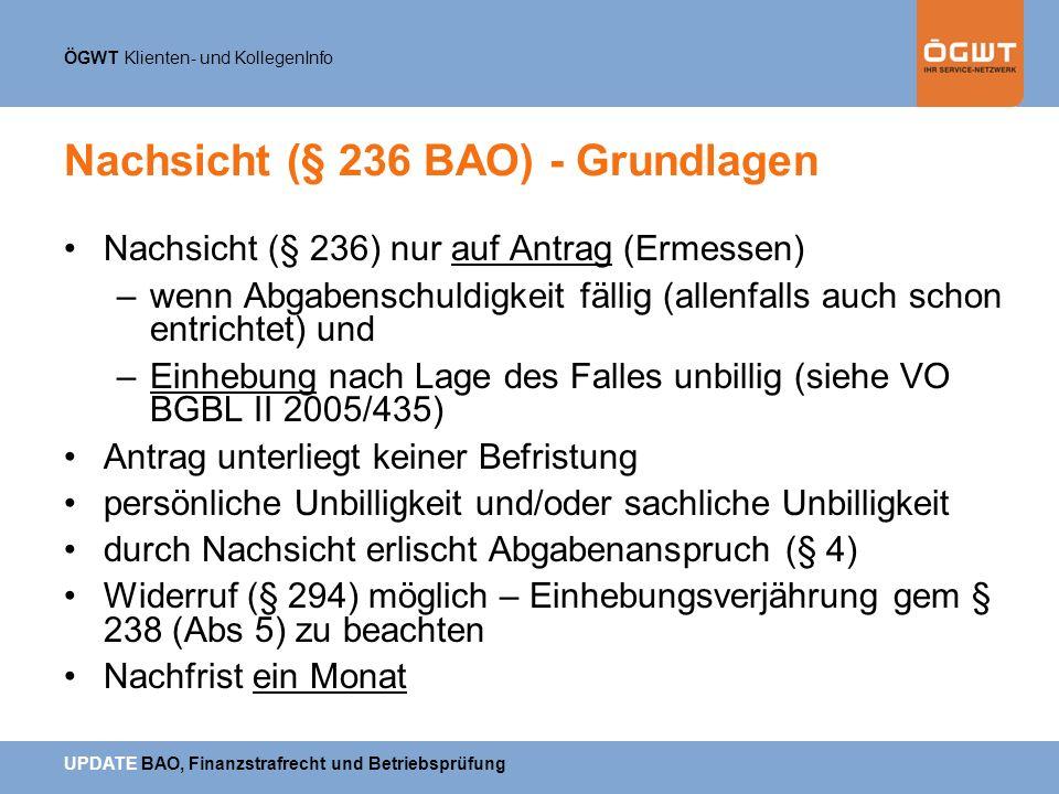 Nachsicht (§ 236 BAO) - Grundlagen