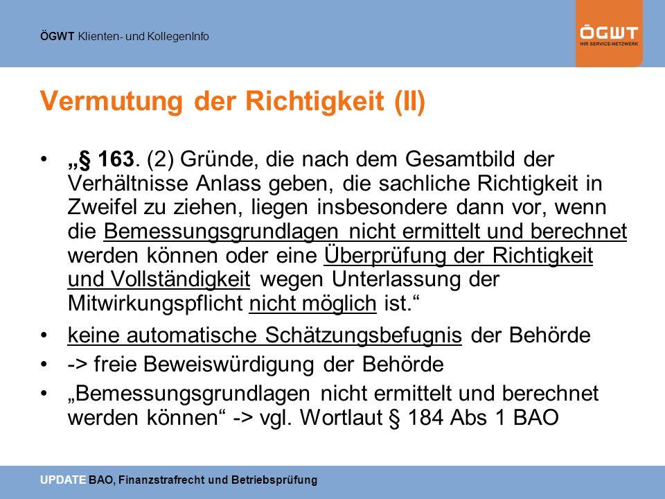 Vermutung der Richtigkeit (II)