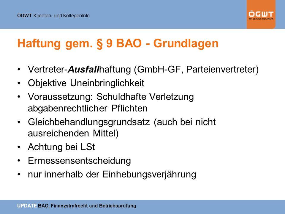 Haftung gem. § 9 BAO - Grundlagen