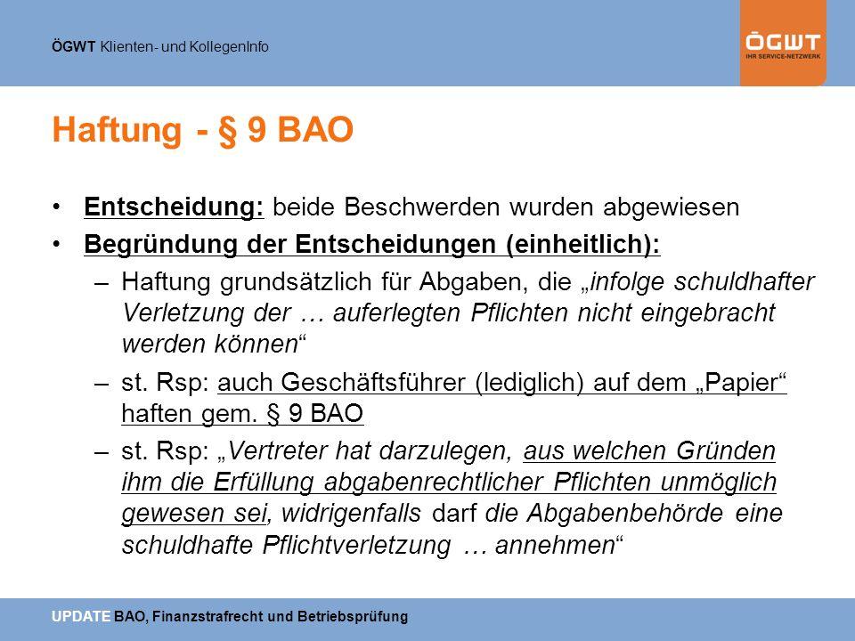 Haftung - § 9 BAO Entscheidung: beide Beschwerden wurden abgewiesen