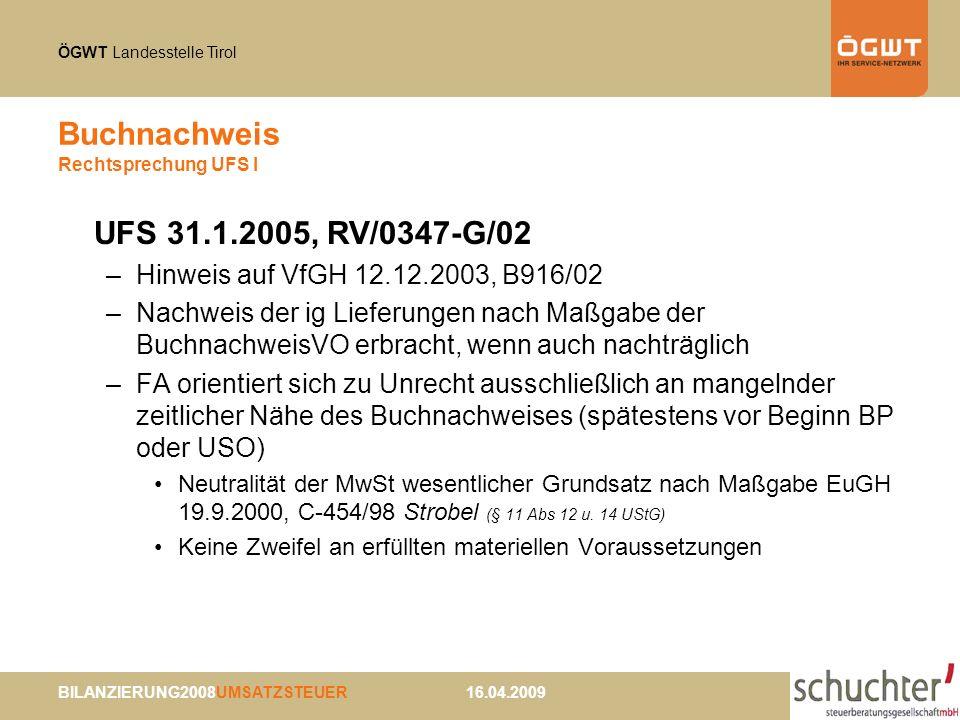 Buchnachweis Rechtsprechung UFS I