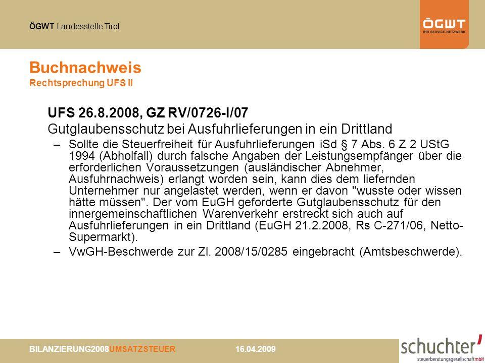 Buchnachweis Rechtsprechung UFS II