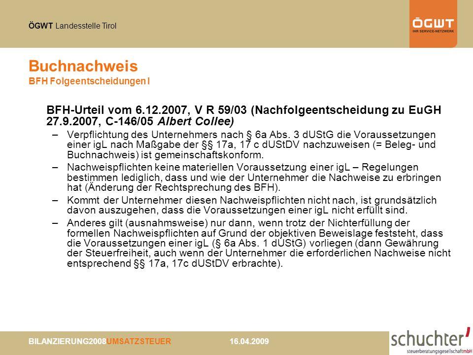 Buchnachweis BFH Folgeentscheidungen I