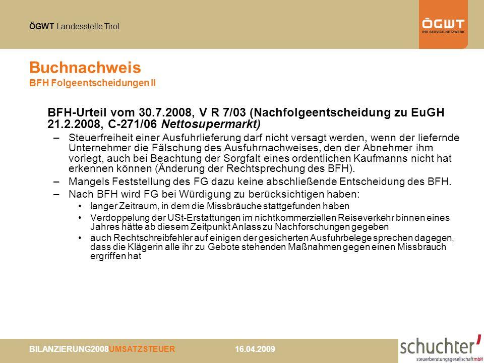 Buchnachweis BFH Folgeentscheidungen II