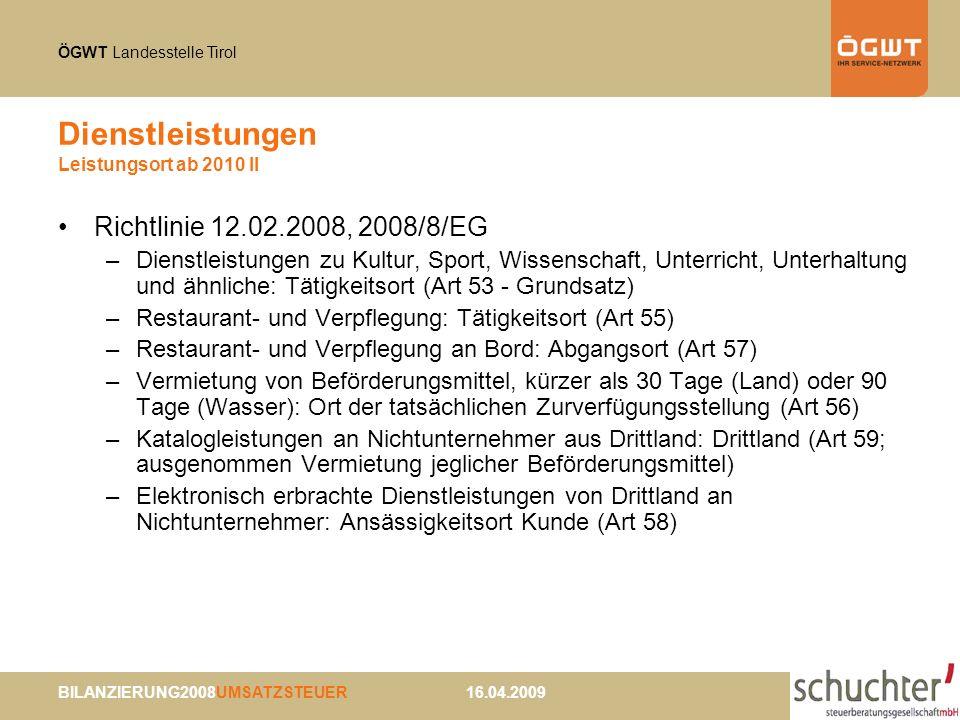 Dienstleistungen Leistungsort ab 2010 II