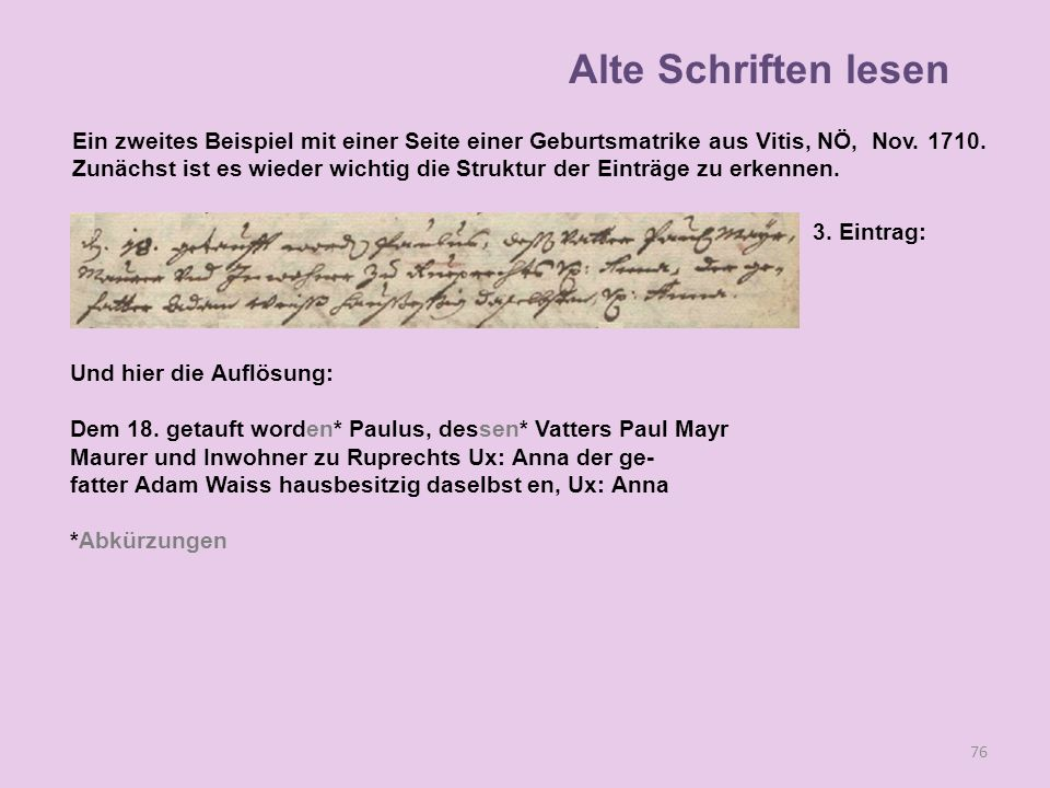 Alte Schriften lesen Ein zweites Beispiel mit einer Seite einer Geburtsmatrike aus Vitis, NÖ, Nov. 1710.